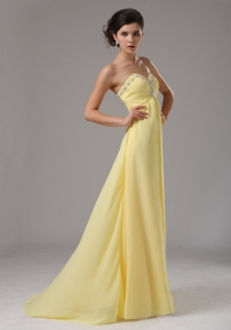 Yellow Custom Made Sweetheart Chiffon Prom Dress