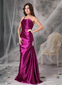 Fuchsia Prom Dress One Shoulder Appliques