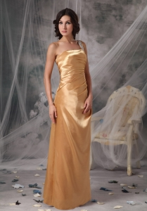 Gold Empire One Shoulder Appliques Prom Dress