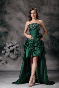 Prom Dress Green One Shoulder Hand Made Flowers