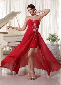 High-low Beaded Sweetheart Homecoming Dress Red