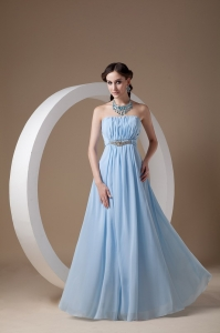 Light Blue Empire Strapless Beading Prom Dress