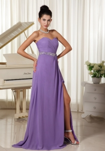 Lilac High Slit With Beaded Prom Gown