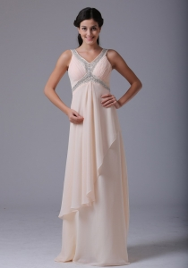 Baby Pink V-neck Prom Dress Beading Ruch