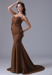 Prom Dress Brown Spagetti Straps Mermaid