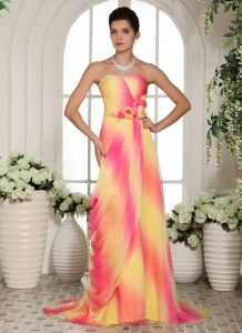 Multi-color Hand Made Flowers Sweetheart Prom Gowns