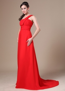 One Shoulder Ruching Prom Dress on Sale