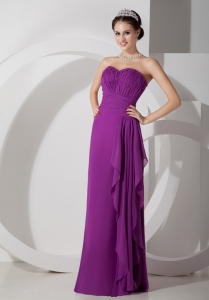 Purple Empire Sweetheart Ruch Prom Dress