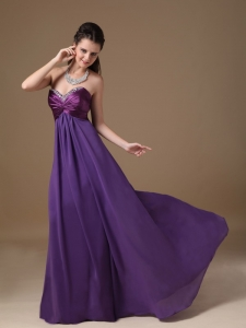 Purple Prom Dress Sweetheart Taffeta and Chiffon