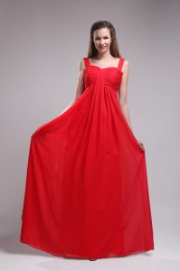 Red Empire Straps Chiffon Ruch Prom Dress