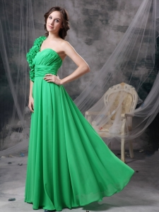 Spring Green Column One Shoulder Prom Dress