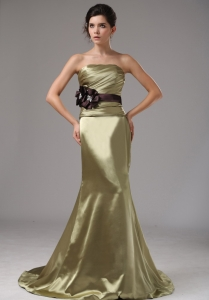 Mermaid Elastic Woven Olive Green Prom Dress