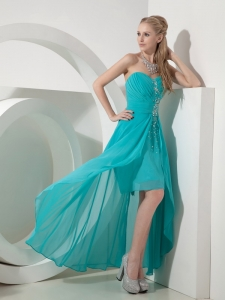 Turquoise Sweetheart High-low Beading Prom Dress