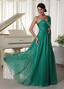 Turquoise One Shoulder Appliques Prom Dress