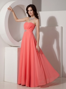 Watermelon Empire Strapless Prom Dress