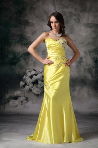 Yellow Column Sweetheart Evening Dress