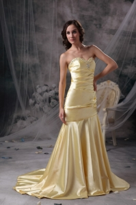 Prom Dress Yellow Mermaid Sweetheart Court Train