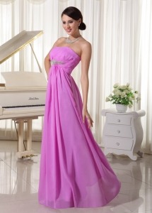 Lavender Beaded Chiffon Empire Prom Dress