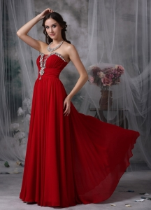 Red Evening Dress Strapless Chiffon Beading