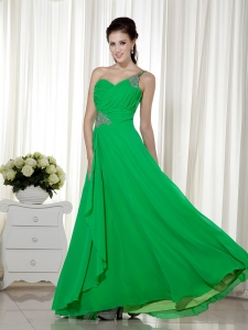 Prom Dress Green One Shoulder Ankle-length