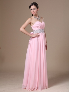 Beaded Prom Dress Chiffon Sweetheart Pink Empire