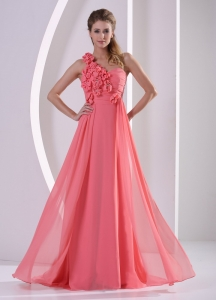 One Shoulder Watermelon Prom Evening Dress