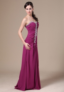 Fuchsia Floor-length Prom Dress With Beaded