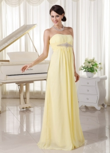 Light Yellow Chiffon Beaded Empire Prom Dress