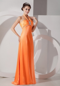 Orange Column Halter Floor-length Prom Dress