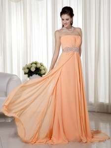 Orange Celebrity Dress Strapless Brush Train