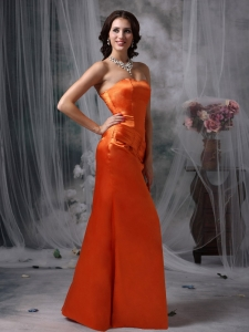 Orange Red Strapless Satin Ruch Prom Dress