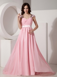 Pink Empire Sweetheart Brush/Sweep Prom Dress