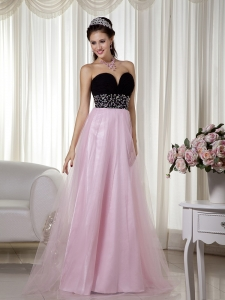 Pink and Black A-line Sweetheart Tulle Prom Dress