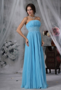 Pleat Evening Dress Beaded Aqua Blue Organza