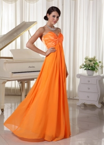 Orange Sweetheart Beaded Evening Dress Chiffon