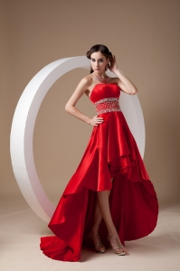 Red Prom Dress Strapless High-low Elastic Wove