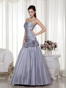 Silver A-line Hand Made Flowers Prom Dress