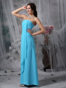 Teal Empire Strapless Chiffon Prom Dress