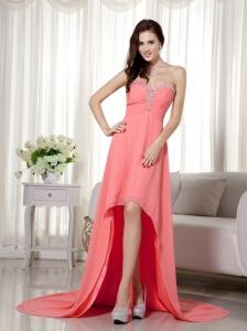 Watermelon Celebrity Dress High-low Chiffon