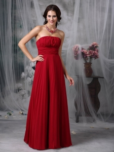 Wine Red Empire Strapless Chiffon Ruch Prom Dress