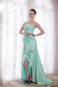 Apple Green Prom Dress High-low Hand Made Flower