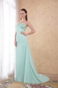 Apple Green Brush Train Appliques Evening Dress