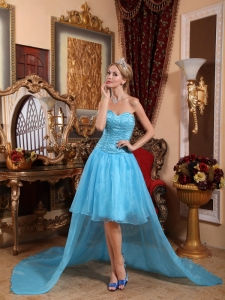 Aqua Blue Sweetheart High-low Beading Prom Dress