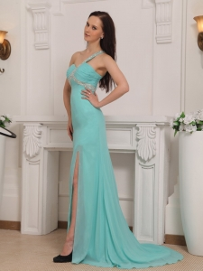 Turquoise One Shoulder Pageant Dress