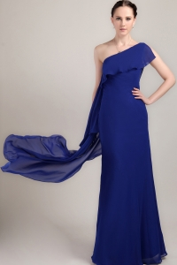 Blue One Shoulder Chiffon Prom / Celebrity Dress