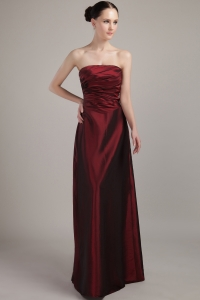 Empire Strapless Taffeta Prom Dress Burgundy