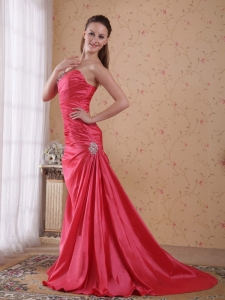 Coral Red Sweetheart Ruch Celebrity Dress