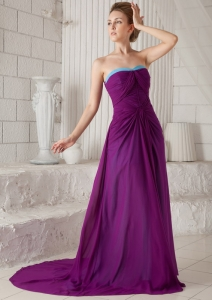 Dark Purple Empire Strapless Ruch Evening Dress