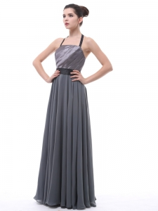 Grey Halter Ruch Black Belt Mother Of The Bride Dress