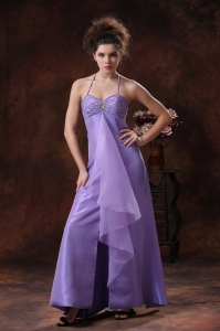 Formal Evening Prom Dress Halter Beading Lilac